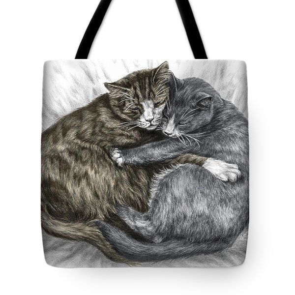 Cuddly Cats - Color Tinted Art Print Tote Bag
