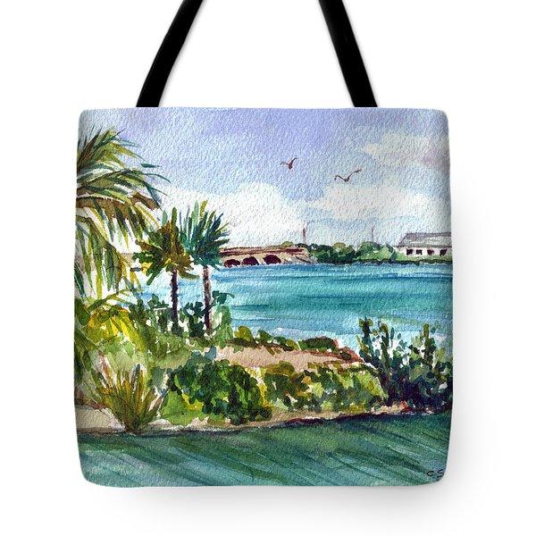 Tote Bag featuring the painting Cudjoe Key Bridge by Clara Sue Beym