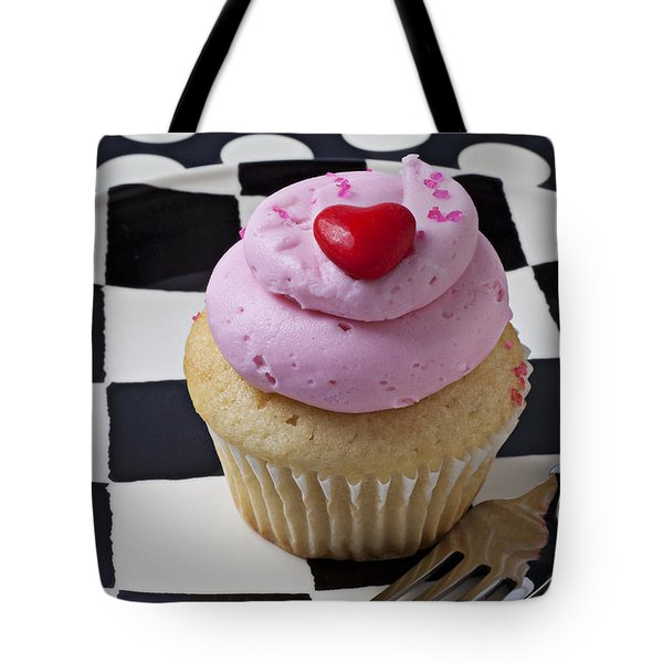 Cupcake With Heart On Checker Plate Tote Bag by Garry Gay