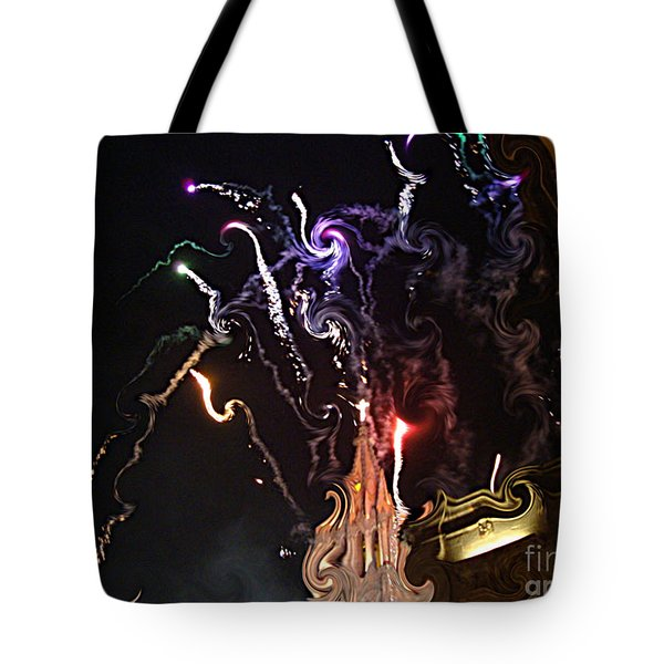 Tote Bag featuring the photograph Curlies Fireworks by John  Kolenberg