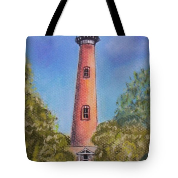 Tote Bag featuring the pastel Currituck Lighthouse Nc by Julie Brugh Riffey