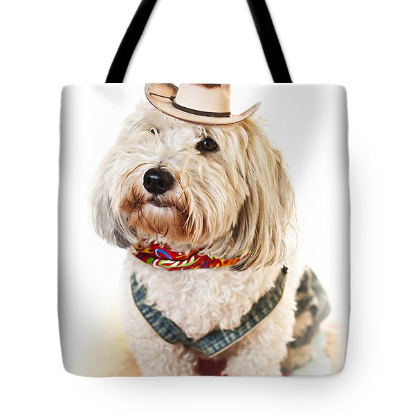 Cute Dog In Halloween Cowboy Costume Tote Bag by Elena Elisseeva