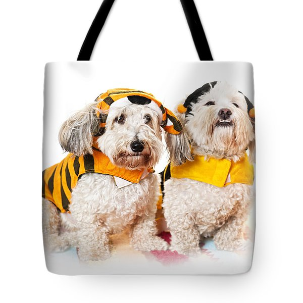 Cute Dogs In Halloween Costumes Tote Bag by Elena Elisseeva