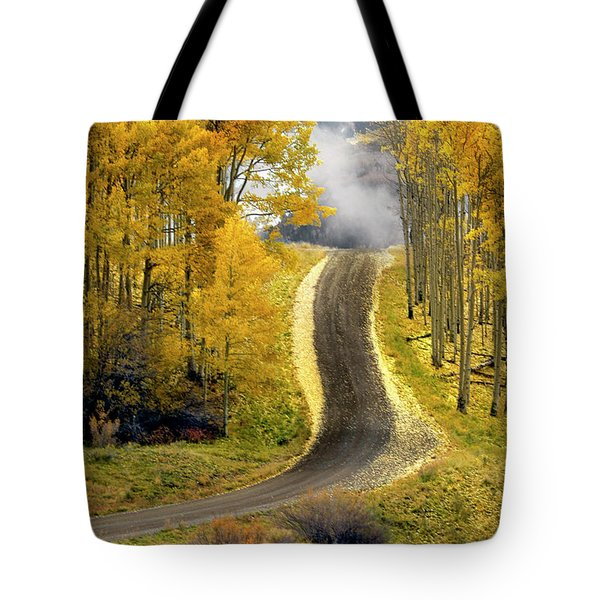 Cutting Through The Aspens Tote Bag