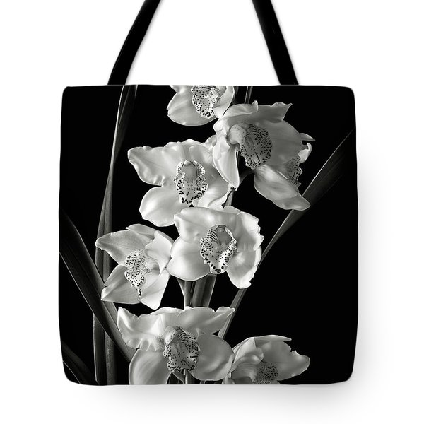 Tote Bag featuring the photograph Cymbidium Cluster In Black And White by Endre Balogh