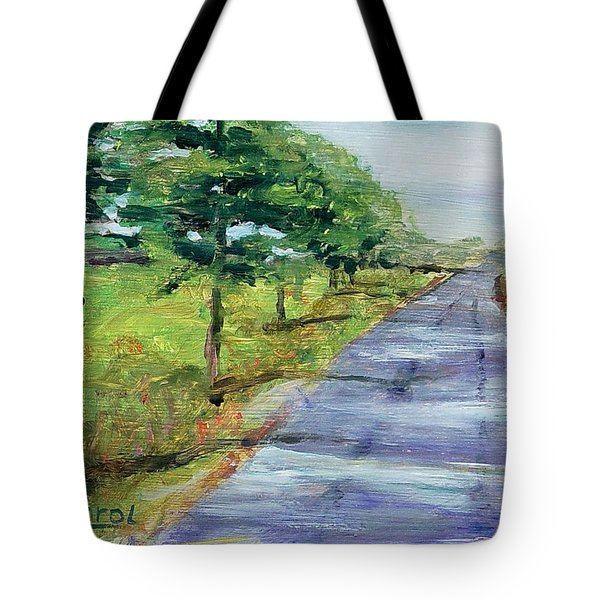 Tote Bag featuring the painting Cypress Lane by Carol Berning