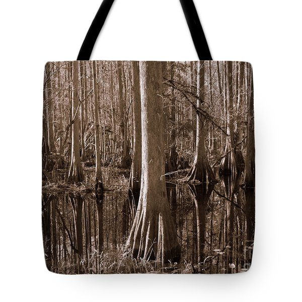 Cypress Swamp Reflection In Sepia Tote Bag by Carol Groenen
