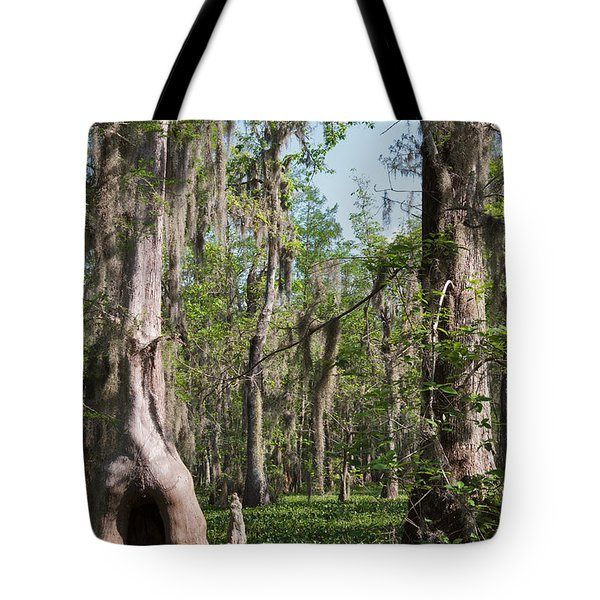 Cypress Trees And Water Hyacinth In Lake Martin Tote Bag by Louise Heusinkveld
