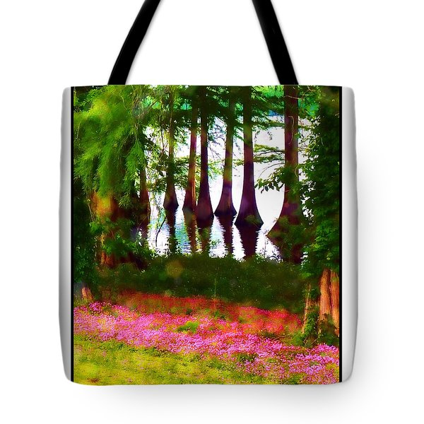 Cypress With Oxalis Tote Bag by Judi Bagwell