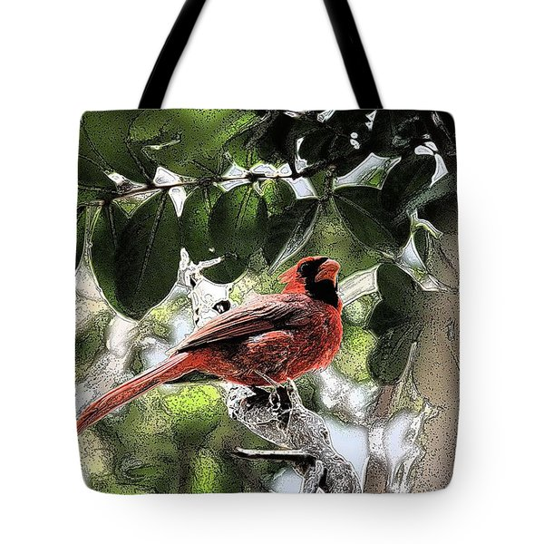 Tote Bag featuring the photograph Daddy Cardinal by Donna G Smith