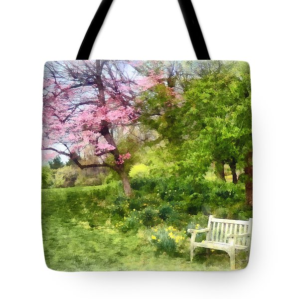 Daffodils By Bench Tote Bag by Susan Savad