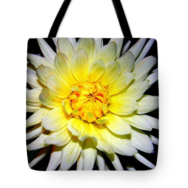 Tote Bag featuring the photograph Dahlia In White And Yellow by Laurel Talabere