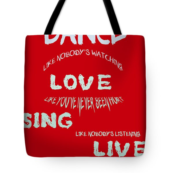 Dance Like Nobody's Watching - Red Tote Bag by Georgia Fowler