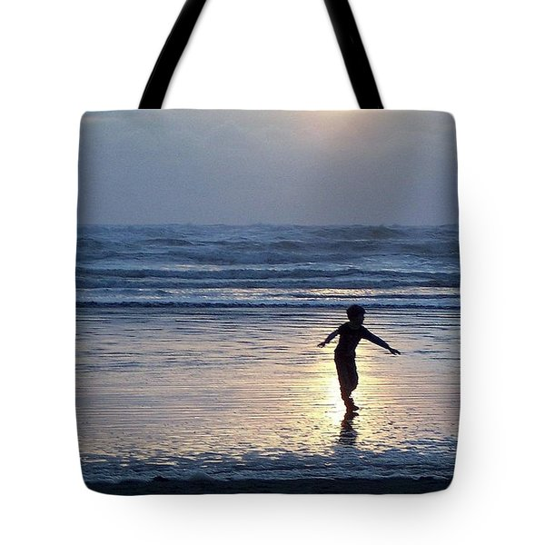 Dancing Boy At Sunset Tote Bag