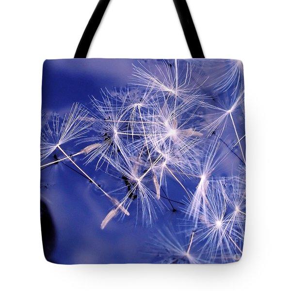 Dandelion Seeds Floating On Water Tote Bag by Kaye Menner