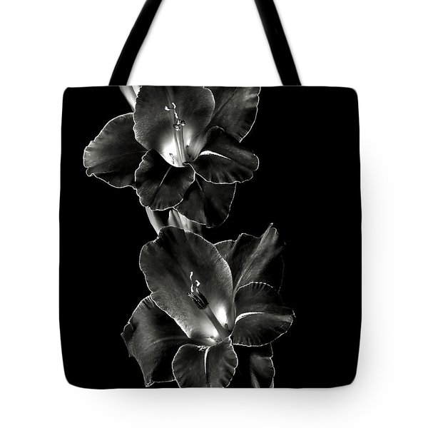Dark Gladiolas In Black And White Tote Bag