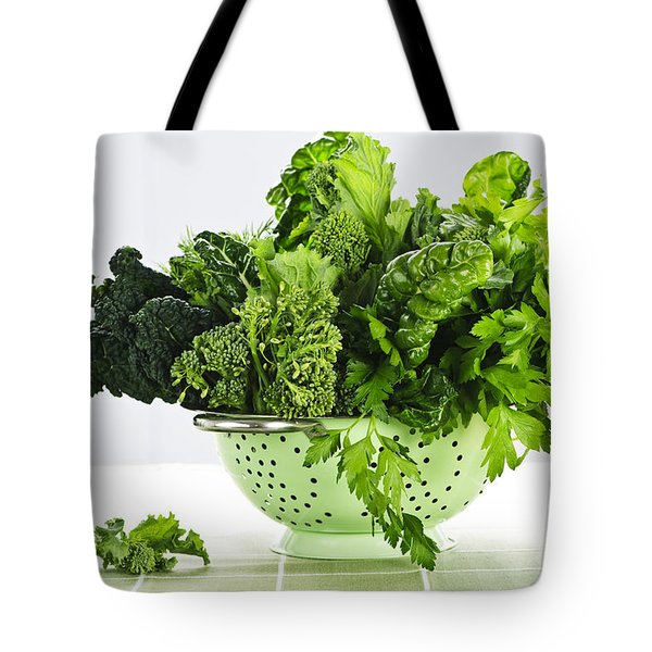 Dark Green Leafy Vegetables In Colander Tote Bag