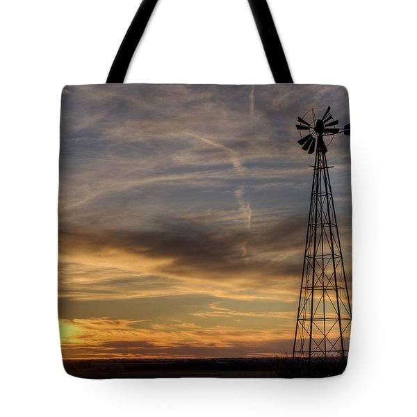 Dark Sunset With Windmill Tote Bag