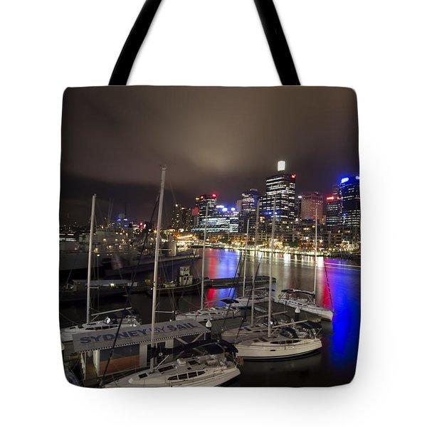 Darling Harbor Sydney Skyline 2 Tote Bag by Douglas Barnard