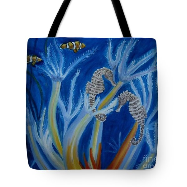 Tote Bag featuring the painting Date Night On The Reef by Julie Brugh Riffey