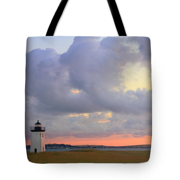 Dawn At Long Point Lighthouse Tote Bag by Roupen  Baker