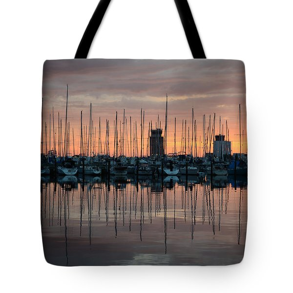 Dawn At The Marina Tote Bag