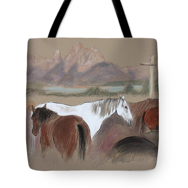 Dawn At Triangle X Corrals Jackson Hole Tote Bag