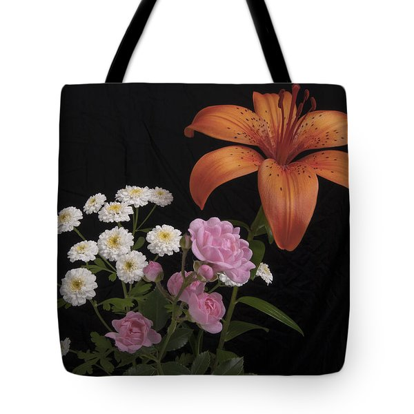 Daylily And Roses Tote Bag by Michael Peychich