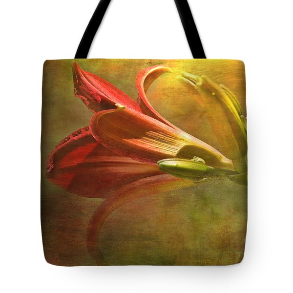 Daylily Photoart With Texture II  Tote Bag by Debbie Portwood