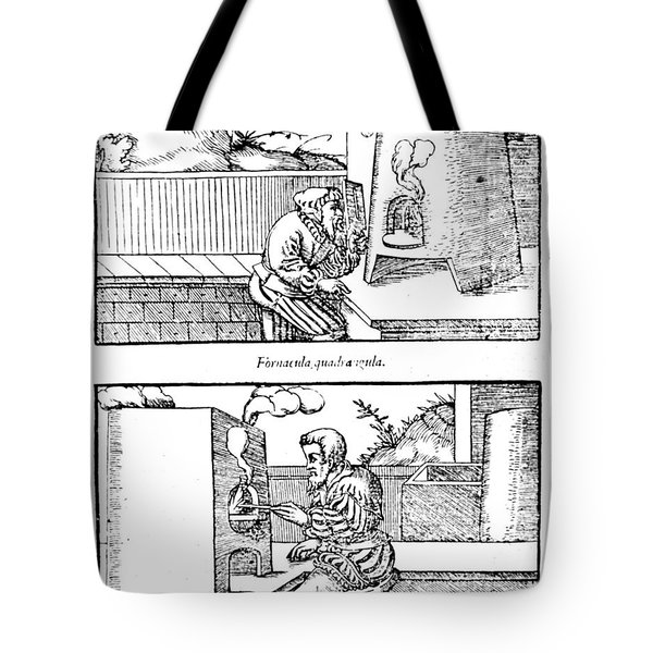 De Re Metallica, Cupellation Furnaces Tote Bag by Science Source