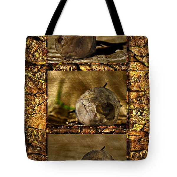 Tote Bag featuring the photograph Dead Rosebud Triptych by Steve Purnell