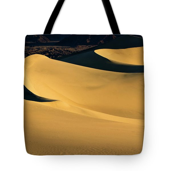 Death Valley And Photographer In Morning Sun Tote Bag