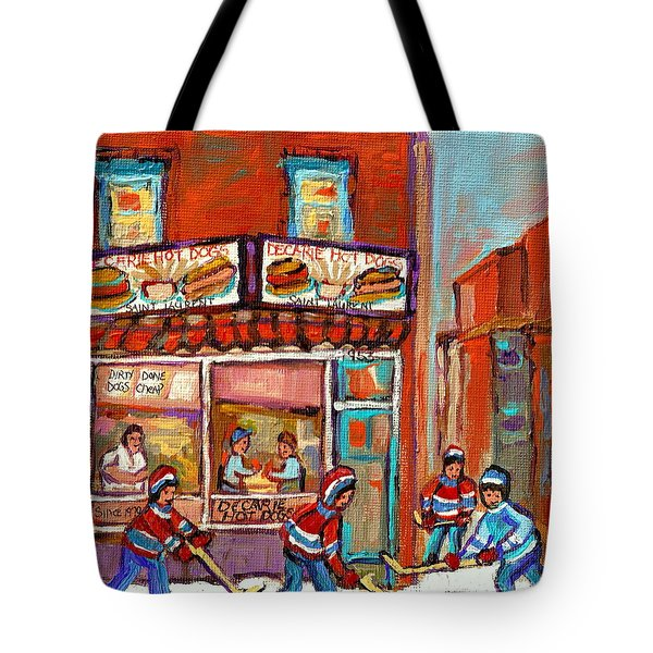 Decarie Hot Dog Montreal Restaurant Paintings Ville St Laurent Streets Of Montreal Paintings Tote Bag by Carole Spandau