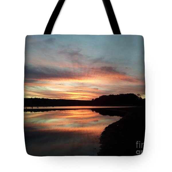 December Sunset At Lake Juliette Tote Bag