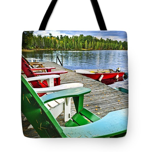 Deck Chairs On Dock At Lake Tote Bag