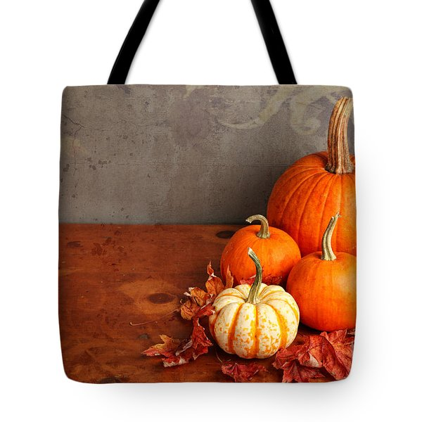 Tote Bag featuring the photograph Decorative Fall Pumpkins by Verena Matthew