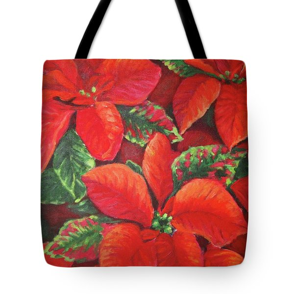 Tote Bag featuring the painting Deep Red Poinsettia by Inese Poga