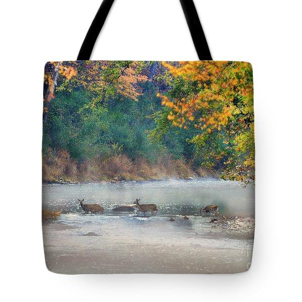 Deer Crossing River Tote Bag by Dan Friend