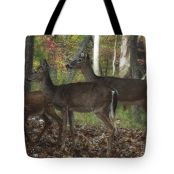 Tote Bag featuring the photograph Deer In Forest by Lydia Holly