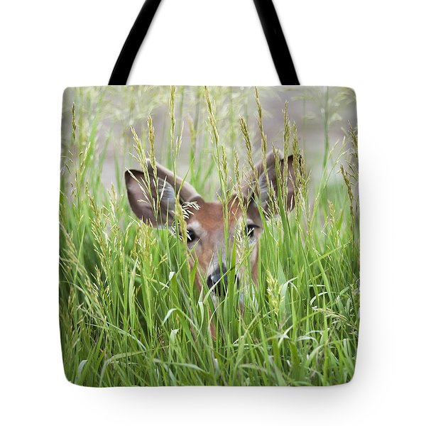 Deer In Hiding Tote Bag by Art Whitton