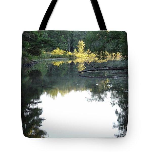 Deer River In Early Sun Tote Bag