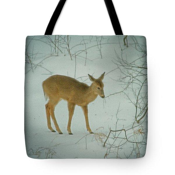 Deer Winter Tote Bag by Karol Livote