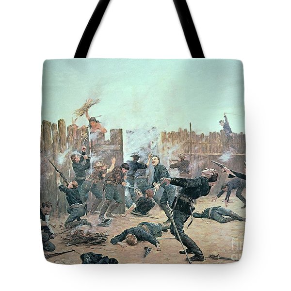 Defending The Fort Tote Bag by Charles Schreyvogel