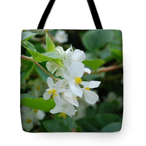 Delicate White Flower Tote Bag by Jennifer Ancker