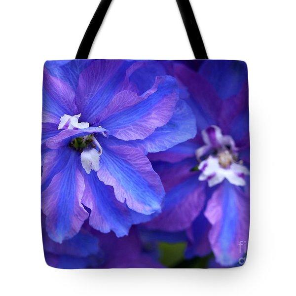 Delightful Delphinia Flowers Tote Bag by Sabrina L Ryan