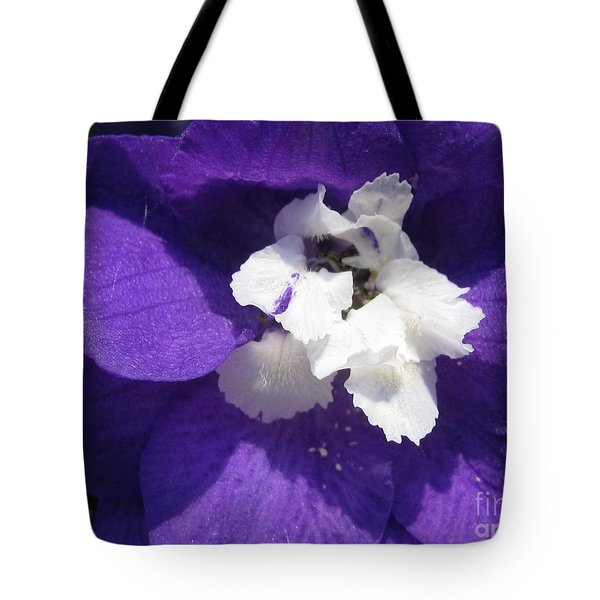 Tote Bag featuring the photograph Delphinium Named Blue With White Bee by J McCombie