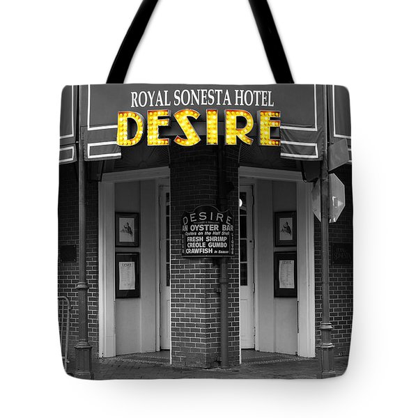 Desire Corner Bourbon Street French Quarter New Orleans Color Splash Black And White Digital Art  Tote Bag