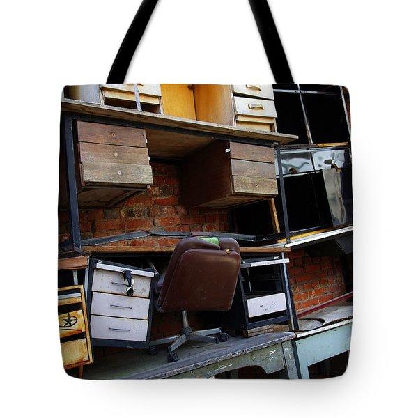 Desk Scrap Tote Bag by Carlos Caetano