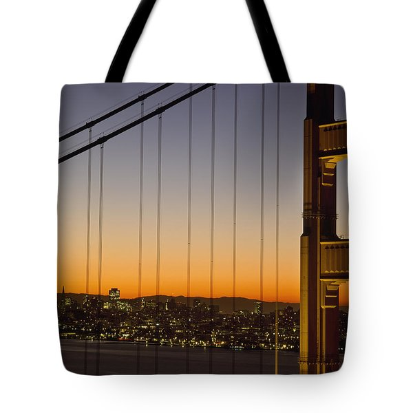 Detail Of The Golden Gate Bridge At Tote Bag by Axiom Photographic