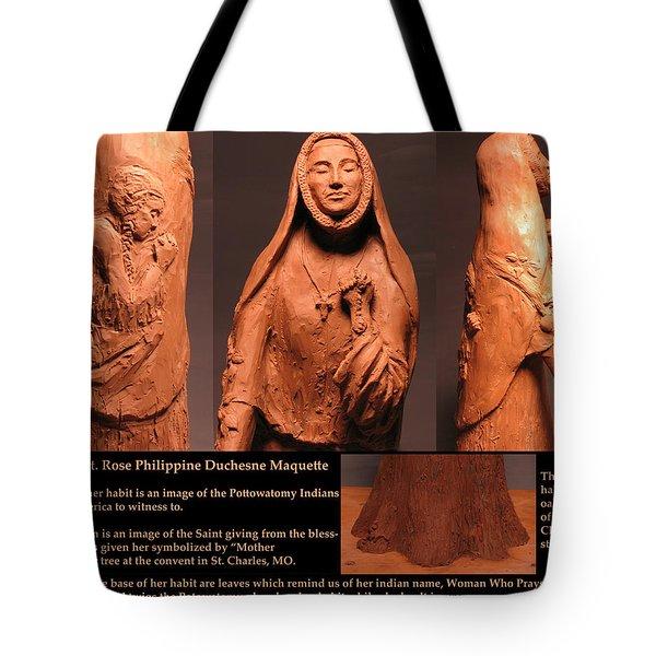Details Of Symbols On Saint Rose Philippine Duchesne Sculpture. Tote Bag by Adam Long